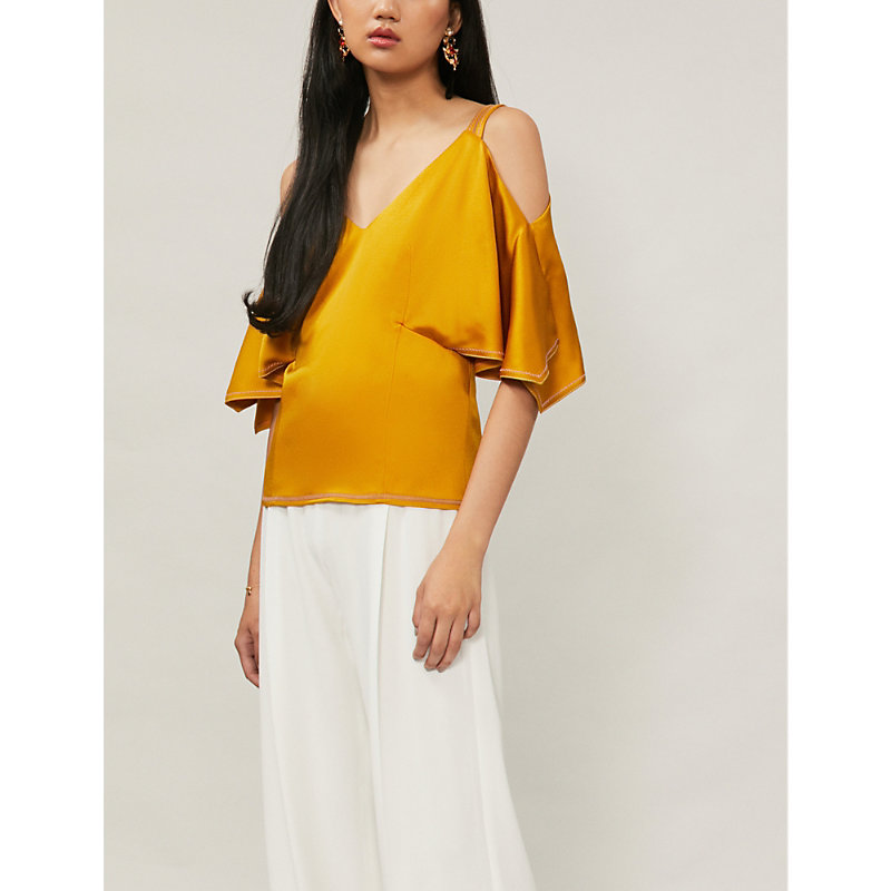 PETER PILOTTO Cold-Shoulder Satin Top in Yellow