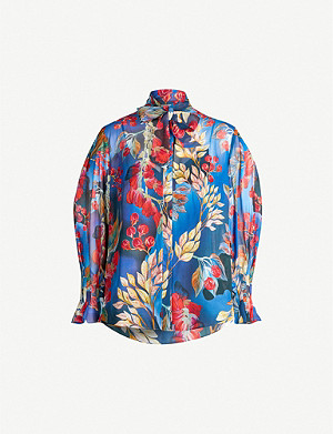 PETER PILOTTO Pussy bow floral-print silk blouse