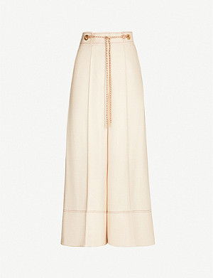 PETER PILOTTO Contrast-trim high-rise crepe wide-leg trousers