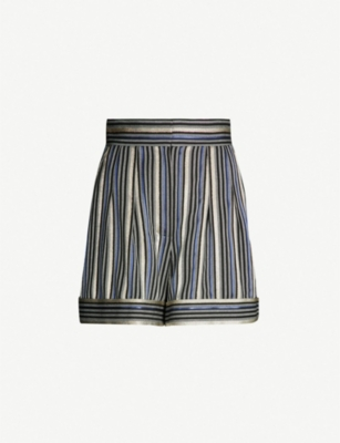 PETER PILOTTO High-rise metallic striped twill shorts