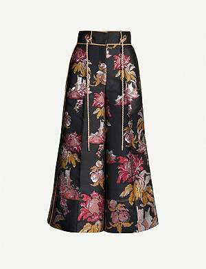 PETER PILOTTO Floral-pattern wide-leg metallic-jacquard trousers