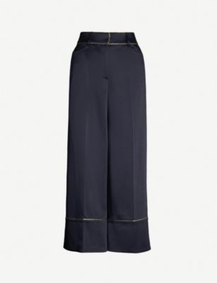 PETER PILOTTO Metallic-trimmed high-rise wide satin culottes