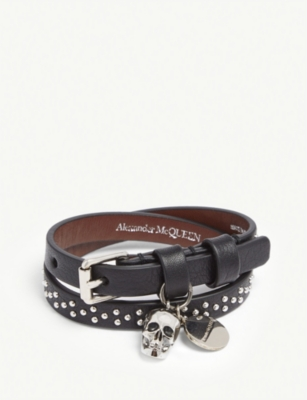 ALEXANDER MCQUEEN Crystal skull leather double wrap bracelet