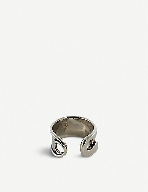 ALEXANDER MCQUEEN Safety Pin engraved silver-plated brass ring