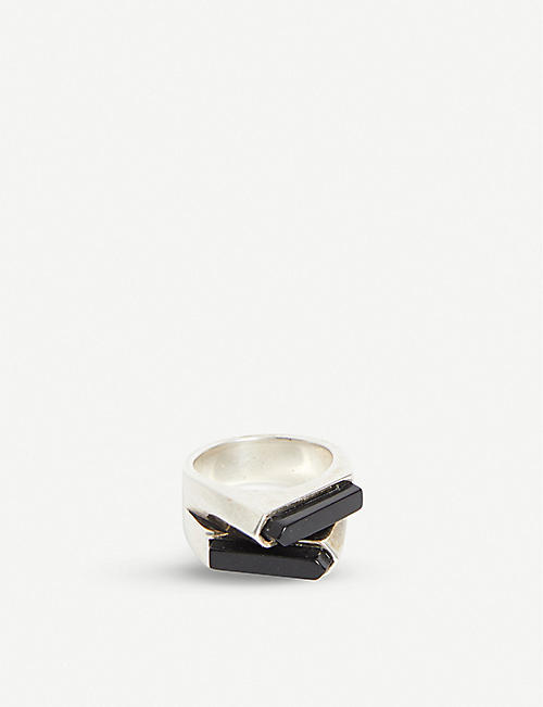 SAINT LAURENT Double-front brass and onyx ring