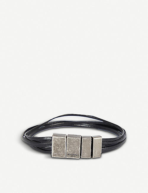 SAINT LAURENT: Four-tab steel and leather bracelet
