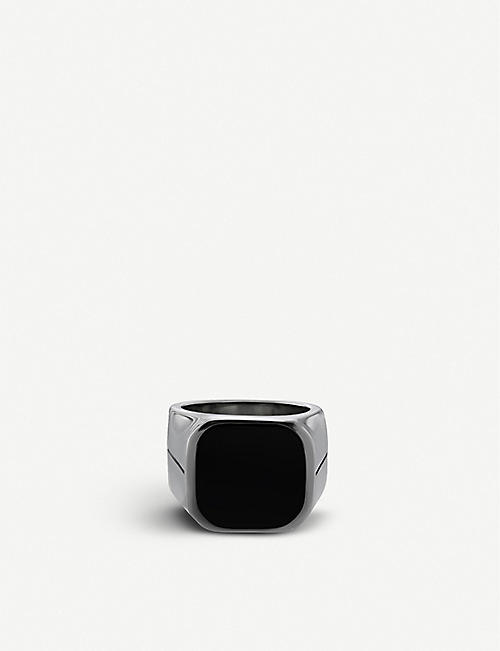 GIVENCHY Engraved silver-tone signet ring