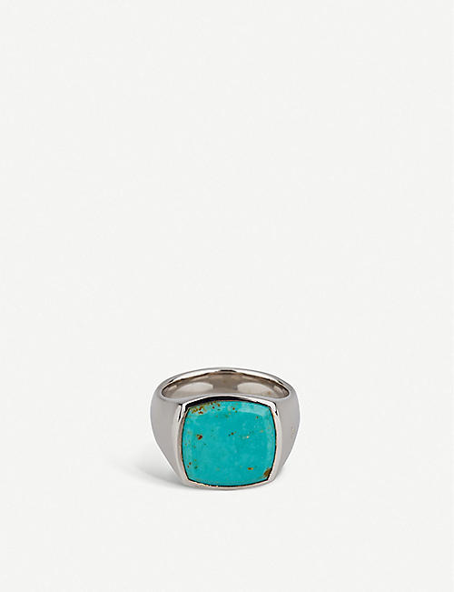 TOM WOOD Cushion turquoise-stone sterling silver ring