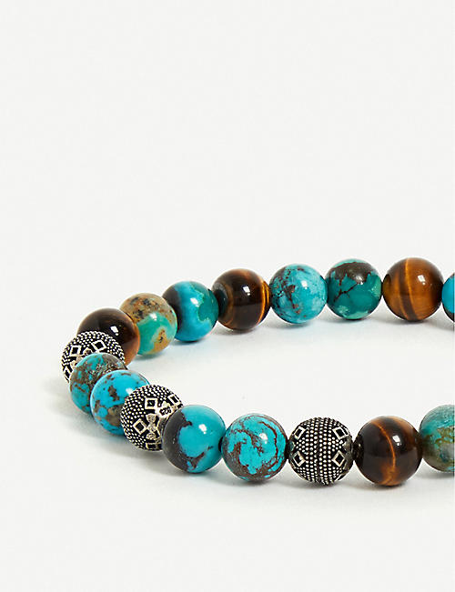 NIALAYA Bali Turquoise, Tiger Eye and Indian Silver bead bracelet