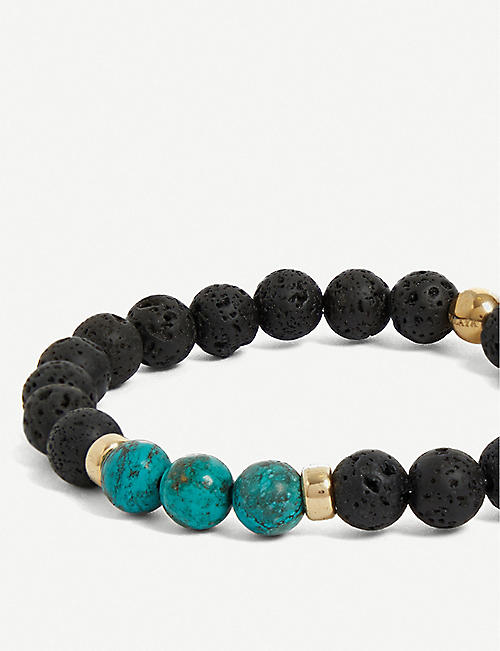 NIALAYA Lava stone, turquoise, 18ct-plated stainless beaded bracelet