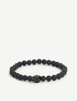 NIALAYA Matte onyx and stainless steel skull bead bracelet