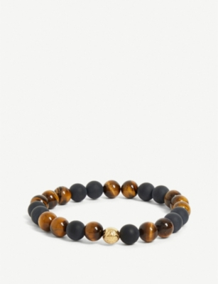 NIALAYA Tigers eye and 18ct gold-plated bead bracelet