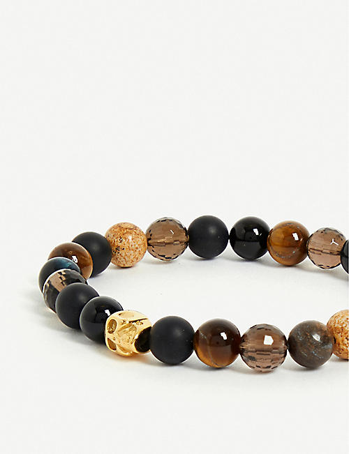 NIALAYA Multi-coloured bead and 18ct gold-plated skull bracelet