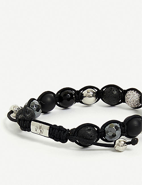 NIALAYA Lava Stone, Hematite, Agate and Clear CZ Diamond beaded bracelet
