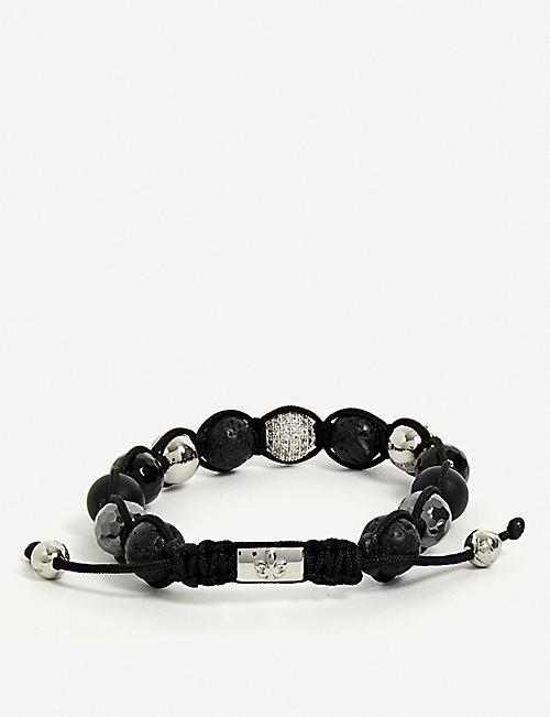 de3e86f2182a NIALAYA Lava Stone, Hematite, Agate and Clear CZ Diamond beaded bracelet