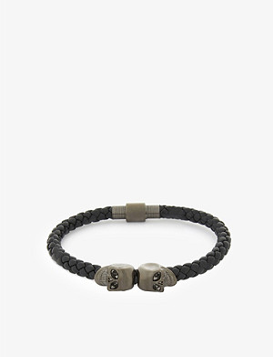 NORTHSKULL Twin skulls nappa leather bracelet