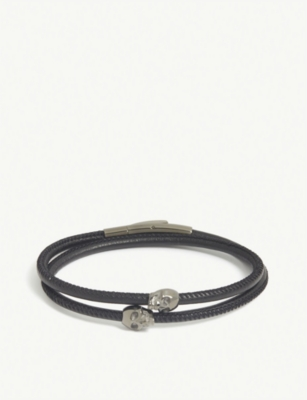 NORTHSKULL Skull double wrap leather bracelet