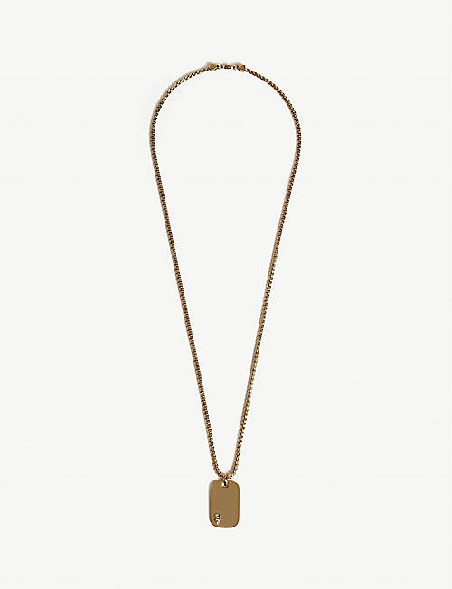 NORTHSKULL Gold plated steel ID tag necklace