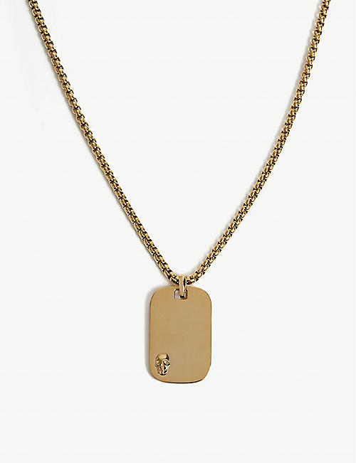 NORTHSKULL: Gold plated steel ID tag necklace