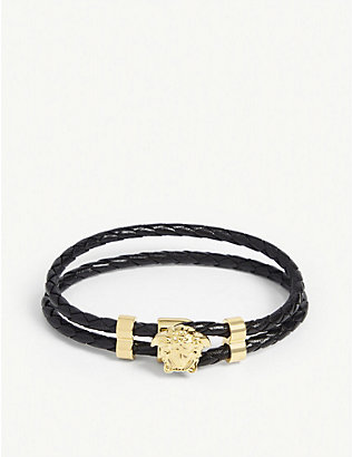 VERSACE: Leather wrap bracelet