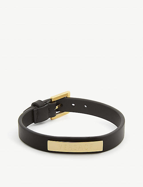 VERSACE Logo-embossed leather bracelet