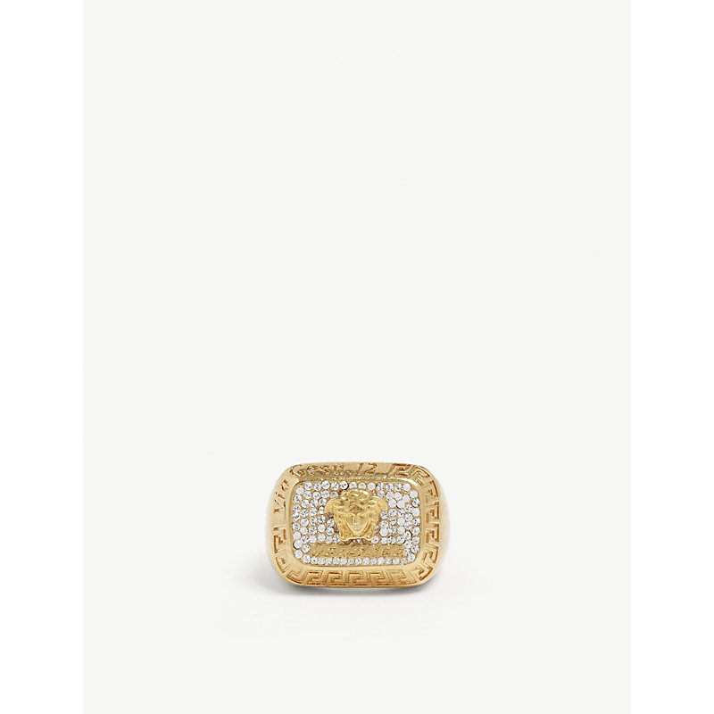 VERSACE   Crystal Square Ring   Goxip