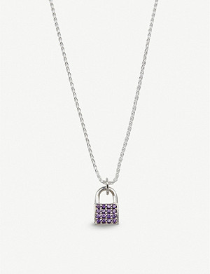 HATTON LABS Crystal-embellished sterling silver padlock necklace