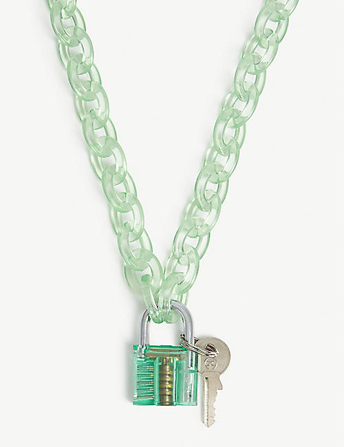 FEATHER PENDANTS Padlock and key necklace