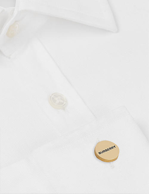 BURBERRY Logo engraved gold-plated cufflinks