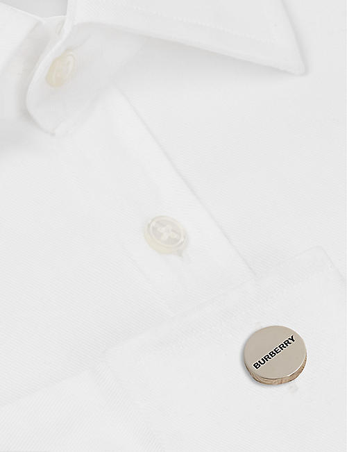 BURBERRY Logo engraved silver-plated cufflinks