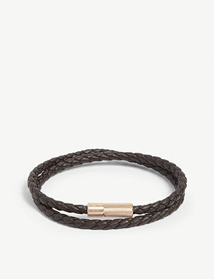 TATEOSSIAN Rigato leather and sterling silver wrap bracelet