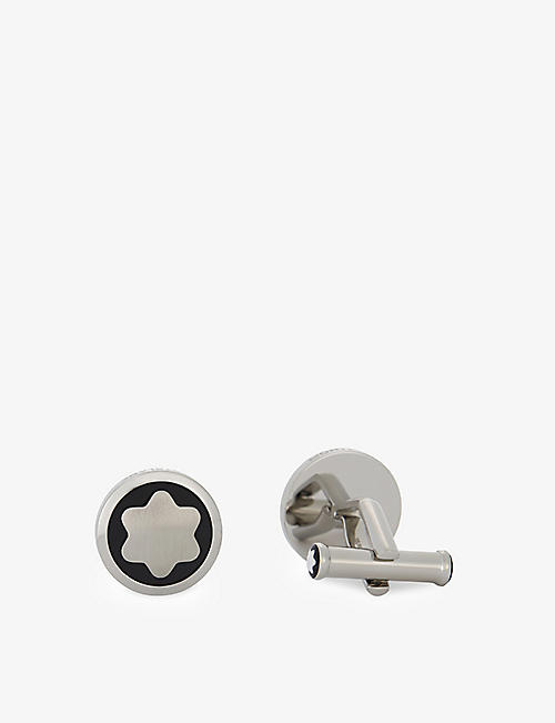 MONTBLANC: Stainless steel star cufflinks