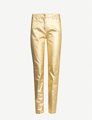 MOSCHINO Metallic straight cotton-blend trousers
