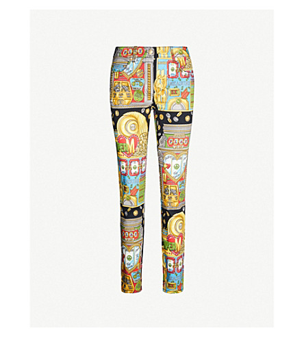 Moschino Pants Slot machine-print straight stretch-cotton trousers