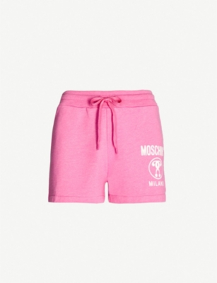 MOSCHINO Logo-print high-rise cotton-blend shorts