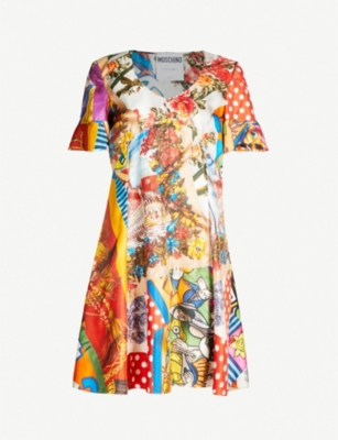 MOSCHINO Printed silk-twill dress