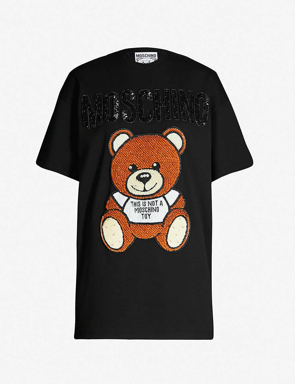 a81c703f MOSCHINO - Teddy-embroidered cotton-jersey T-shirt | Selfridges.com