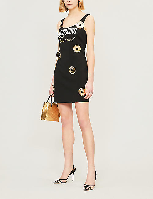 932f8a522d MOSCHINO Oversized-button logo-print crepe dress
