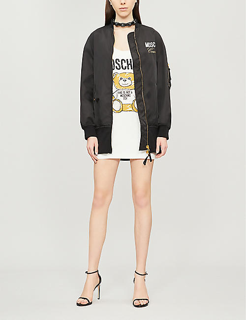 MOSCHINO Short cotton-blend sleeveless jersey dress