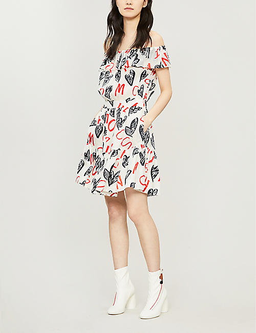 MOSCHINO Heart-print off-the-shoulder woven mini dress