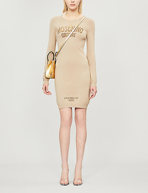 MOSCHINO Fitted cotton and linen-blend dress