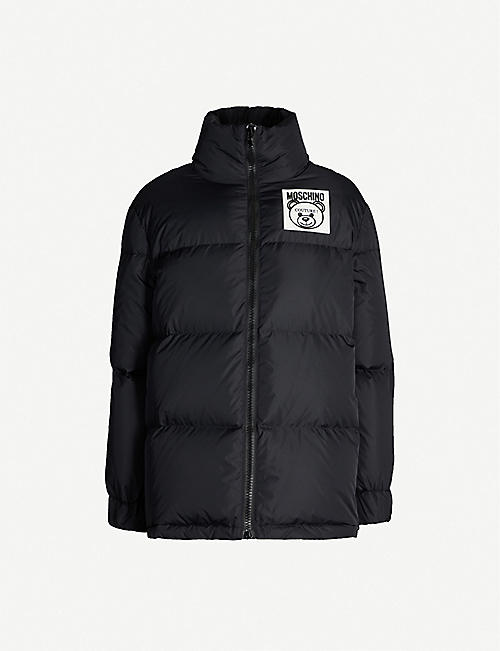 MOSCHINO Logo-patch funnel-neck shell-down jacket