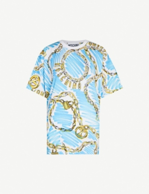 MOSCHINO Chain-print cotton-jersey T-shirt