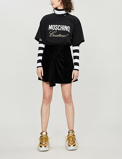 MOSCHINO Slogan-embroidered cotton-jersey T-shirt