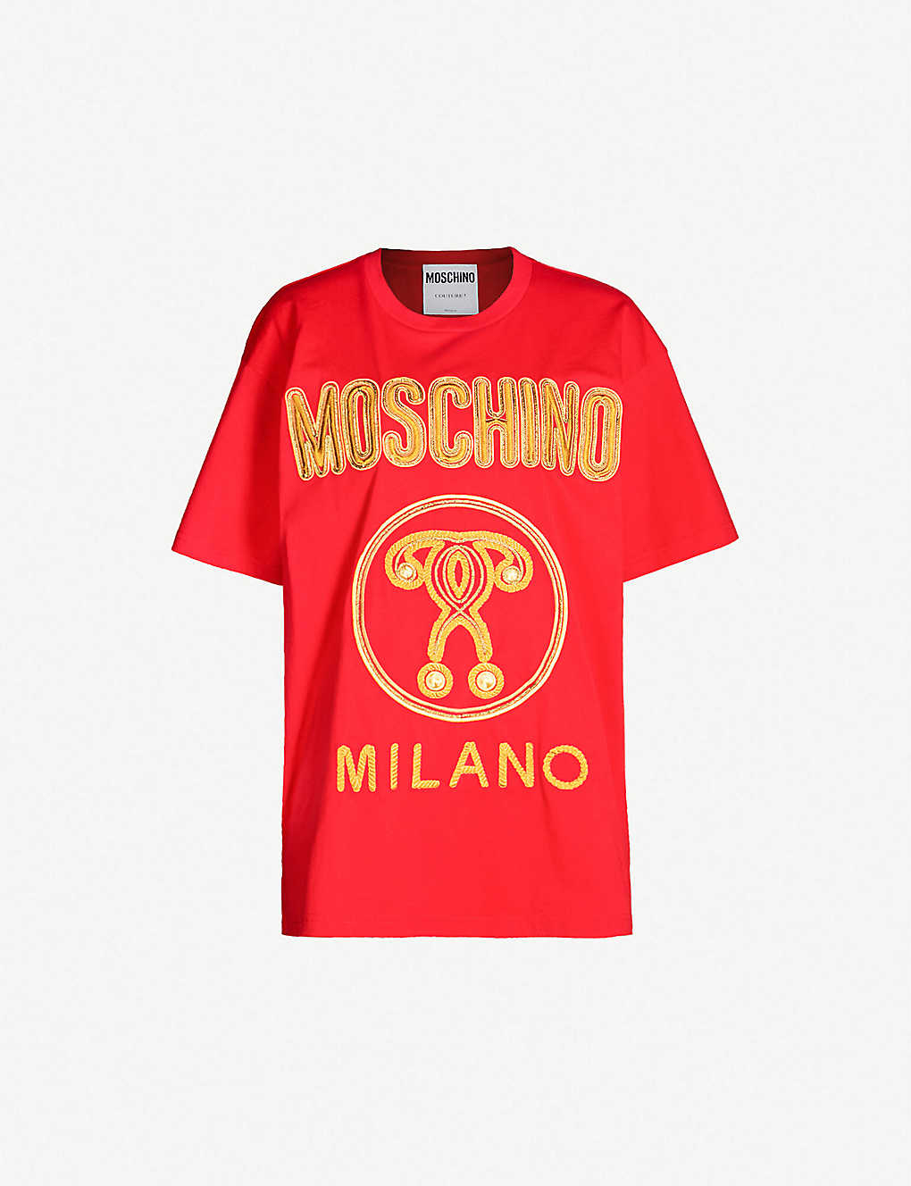 38a8faa23528 MOSCHINO - Logo-embroidered oversized cotton-jersey T-shirt ...