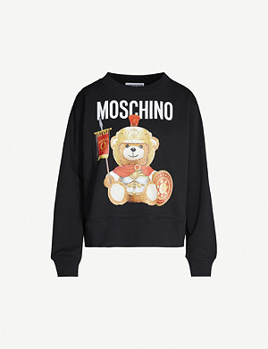 MOSCHINO Bear-print round-neck cotton-jersey sweatshirt