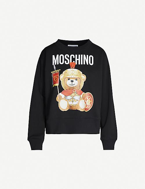 2cb7830e MOSCHINO Bear-print round-neck cotton-jersey sweatshirt
