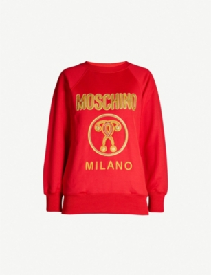 MOSCHINO Logo-embroidered jersey sweatshirt