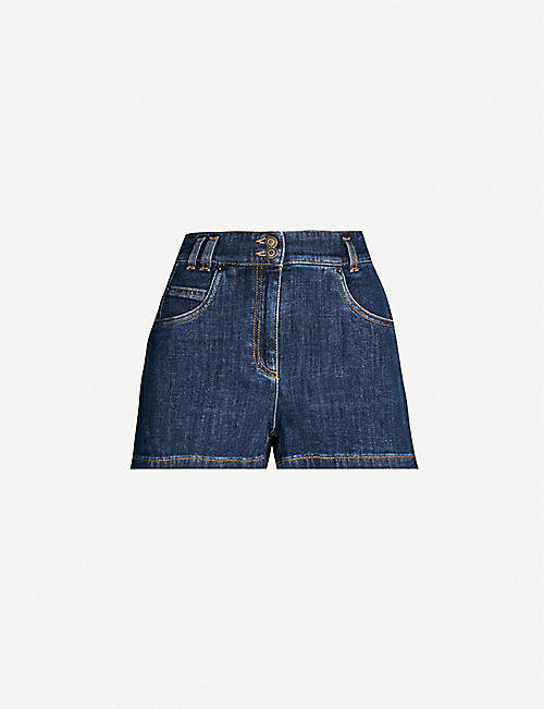 60feab074c94 MOSCHINO Bear-embroidered high-rise denim shorts