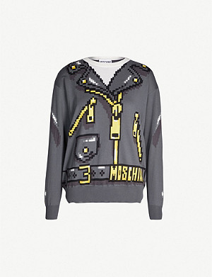 MOSCHINO Logo-pattern cotton-jersey jumper